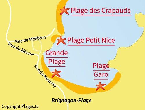 Carte de la Grande Plage de Brignogan