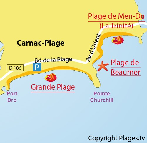 Map of Grande Plage in Carnac in France