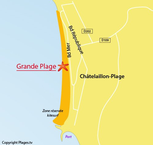 Map of Grande Plage in Chatelaillon in France