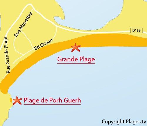 Map of Grande Plage in Gavres in France