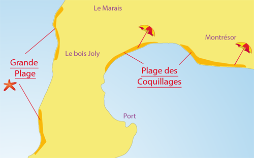 Map of Grande Plage - Island of Aix