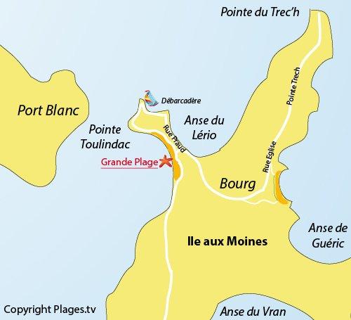 Carte de la grande plage sur l'Ile aux Moines