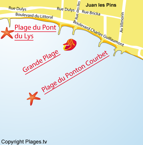 Map of the Grande Beach in Juan les Pins