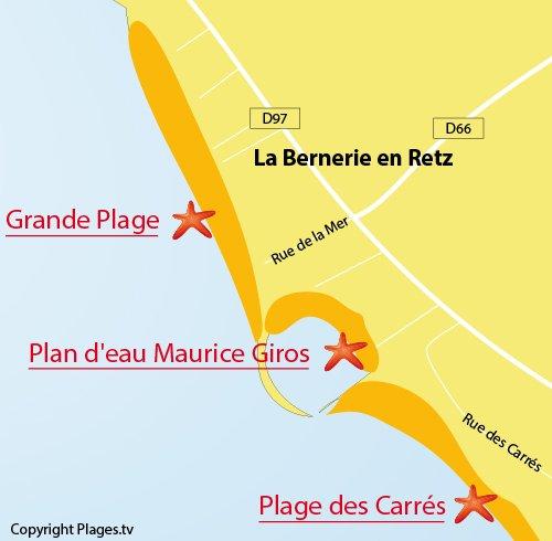 Carte de la Grande Plage de la Bernerie en Retz