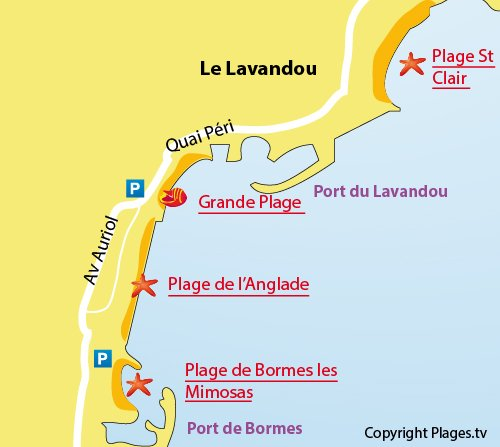 Map of the Grande Beach in Lavandou