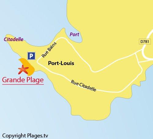Carte de la Grande Plage de Port-Louis