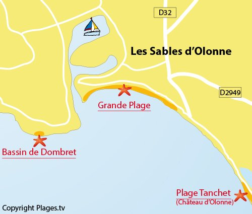 Map of the Grande Beach in Les Sables d'Olonne