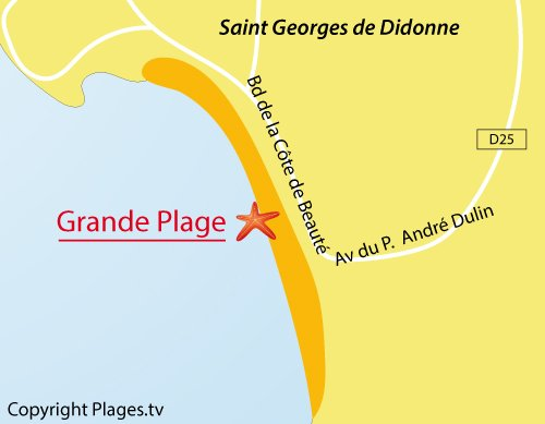 Map of Grande Plage in St Georges de Didonne in France