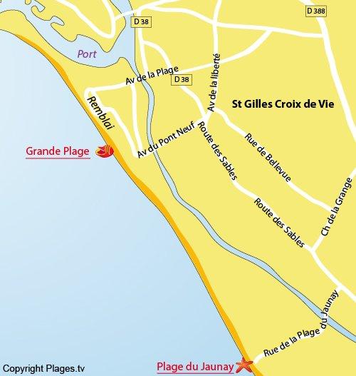 Map of Grande beach in St Gilles Croix de Vie