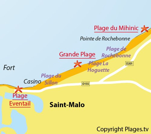 Map of the Grande Beach of St Malo