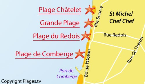 Carte de la Grande Plage de St Michel Chef Chef