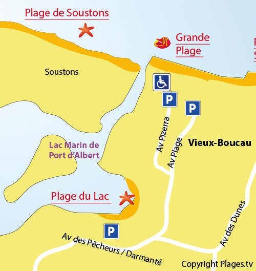 Plan de la plage du centre ville de Vieux Boucau