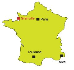 Location of Granville in France (Normandy)