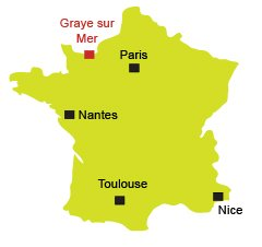 Map of Graye sur Mer in Normandy