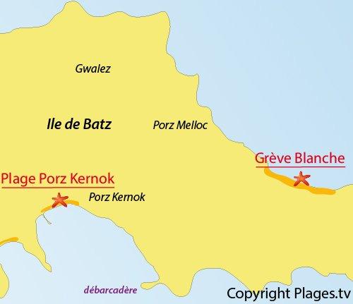 Map of White Beach - Batz island