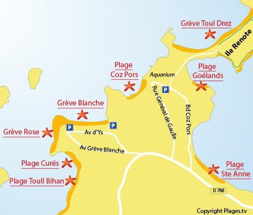 Plan de la plage de la Grève Blanche à Trégastel