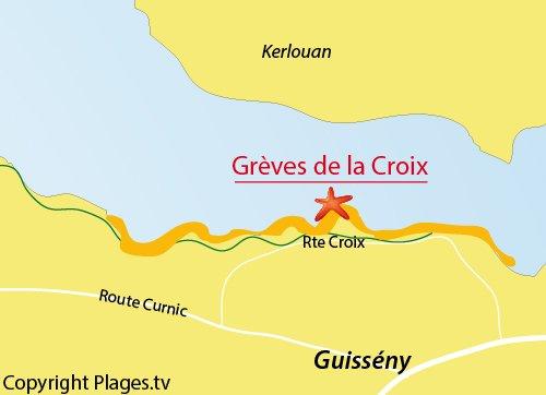 Carte de la Grève de La Croix - Guissény