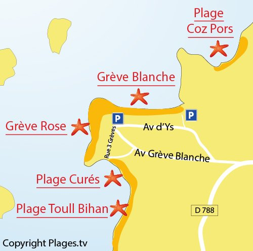 Map of Pink Beach in Trégastel