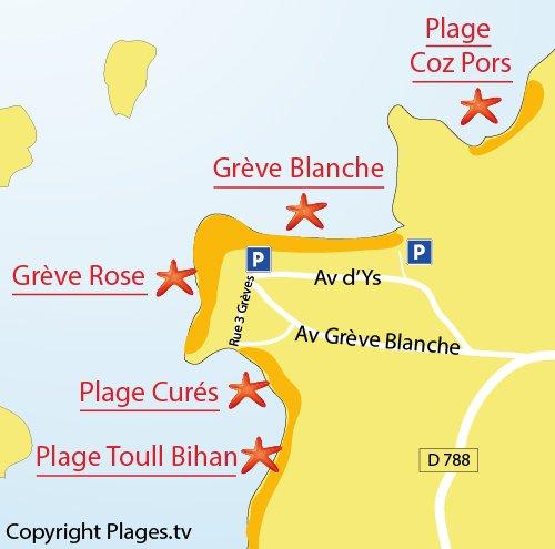 Plan de la Grève Rose à Trégastel