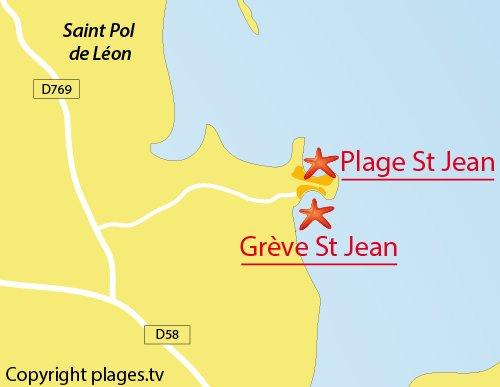 Carte de la grève St Jean de St Pol de Léon