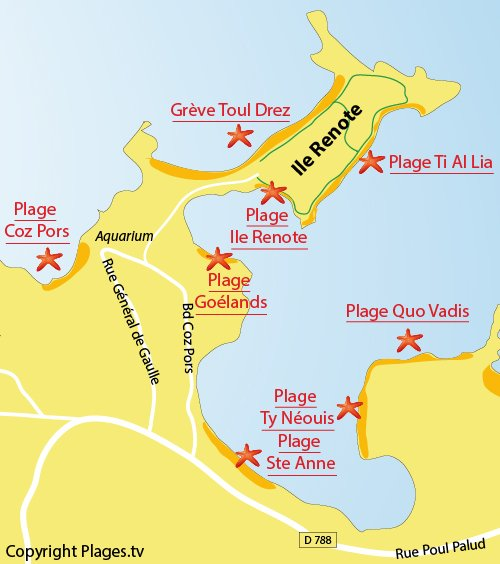 Map of Toul Drez Beach in Tregastel
