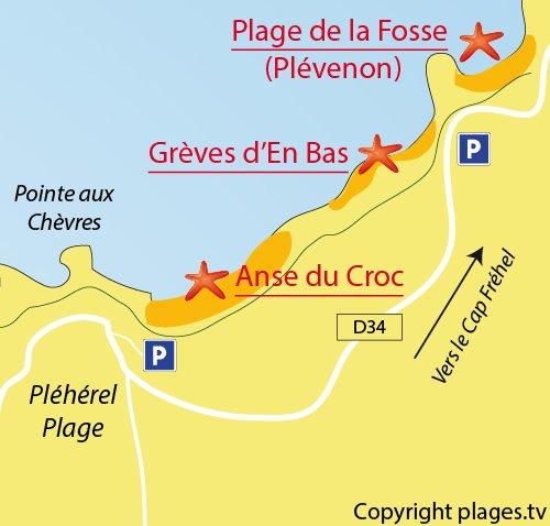 Carte de la Grève d'en Bas à Fréhel