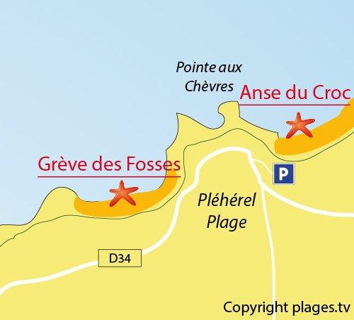 Carte de la Grève des Fosses à Fréhel