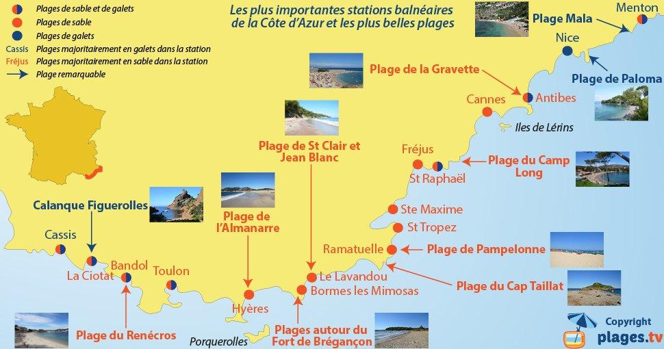 Carte des plus grosses stations balnéaires de la Côte d'Azur et des plus belles plages