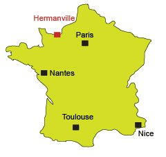 Map of Hermanville in Normandy