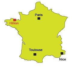 Localisation d'Hillion dans la baie de St Brieuc