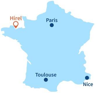 Localisation d'Hirel dans la baie du Mont St Michel
