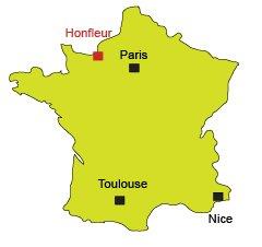 Localisation d'Honfleur en Normandie