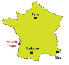 Mappa di Hourtin in Francia