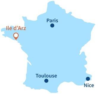 Localisation de l'ile d'Arz en Bretagne