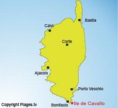 Location of Cavallo island - Corsica