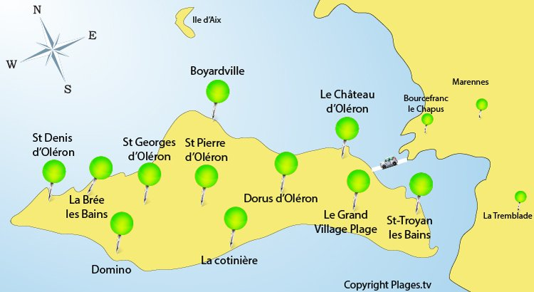 Map of Oleron in France