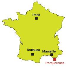 Mappa isola di Porquerolles - Francia