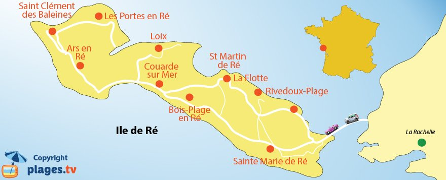 Map of Ré Island - France