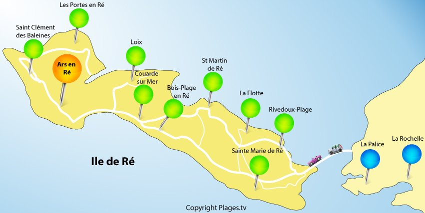 Map of Island of Ré in France with the village of Ars en Ré