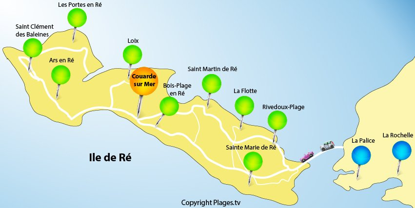 Map of Isle of Rhé and Couarde sur Mer - France