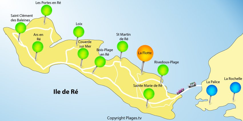 Map of La Flotte and Isle of Rhé - France