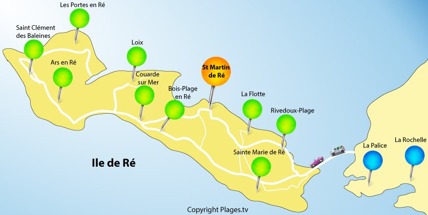 Map of Ré Island and St Martin de Ré