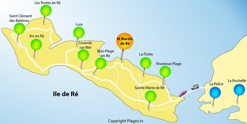Carte de l'île de Ré et de St Martin de Ré