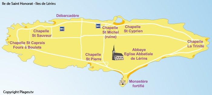 Carte de l'île Saint Honorat avec les points d'intérêts