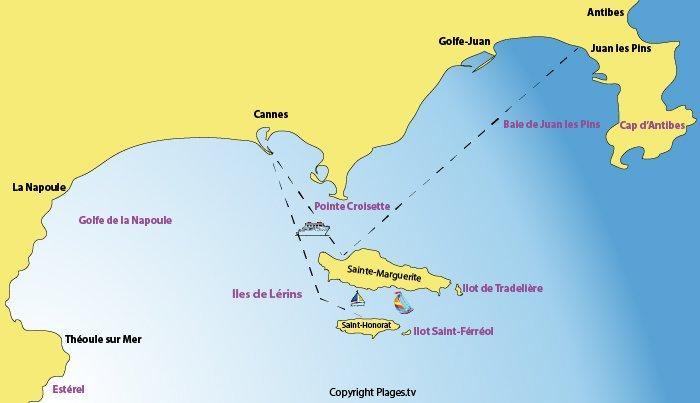 Carte des Iles de Lérins et de sa baie