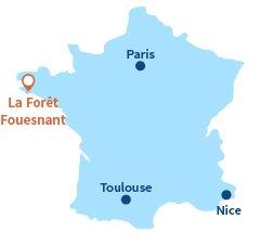 Localisation de La Forêt Fouesnant en Bretagne
