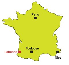 Location of Labenne Ocean in France