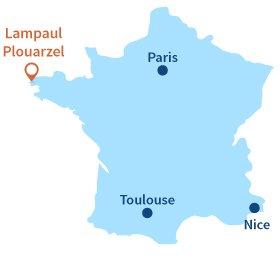 Localisation de Lampaul Plouarzel en Bretagne