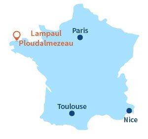Localisation de lampaul-ploudalmezeau en Bretagne