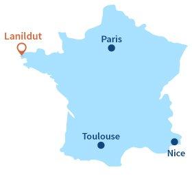 Localisation de Lanildut en Bretagne